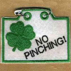 No Pinching Tag embroidery design