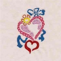 Heart & Ribbons embroidery design