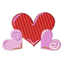 Three Love Hearts embroidery design