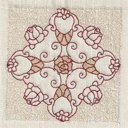 Rosebud Block embroidery design