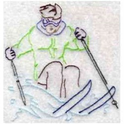 RW Skier embroidery design