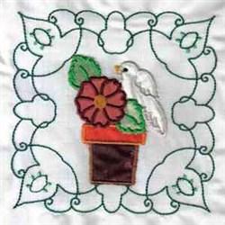 Bird & Flower Applique embroidery design