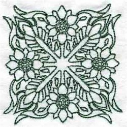 Flowered Quilt Block embroidery design