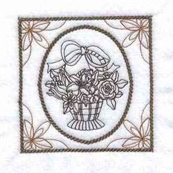 Floral Hand Basket embroidery design