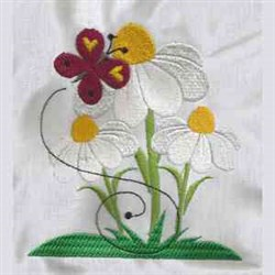 Butterfly On Daisy embroidery design