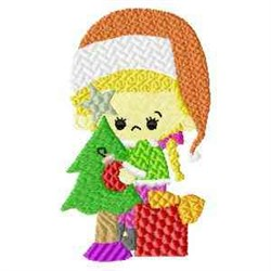 Xmas Girl & Tree embroidery design