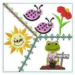 Spring Frog Block embroidery design