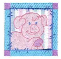 Pig Block embroidery design