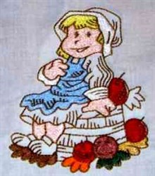 Girl With Apples embroidery design