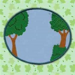 Applique Tree Circle embroidery design