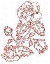 Redwork Rosebuds embroidery design