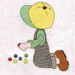 Playing Marbles embroidery design