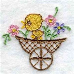 Chick In Cart embroidery design