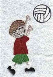 Volleyball Kid embroidery design