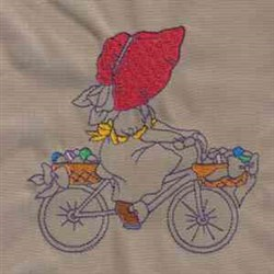 Easter Bonnet Girl embroidery design