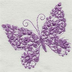 Flowered Butterfly embroidery design