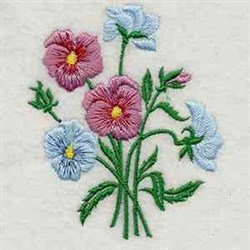 Pansy Bouquet embroidery design