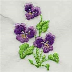 African Violets embroidery design