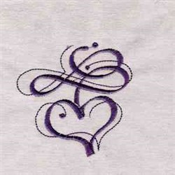 Curly Heart embroidery design