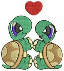 Turtle Love embroidery design
