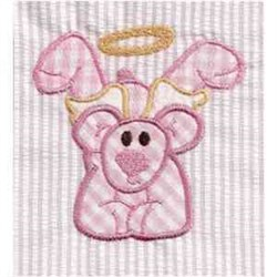 Applique Angel Bear embroidery design