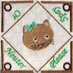 Cat Teabag Holder embroidery design