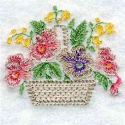 Pansy Basket embroidery design