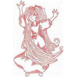 Long Hair Lady embroidery design