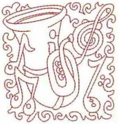 RW Tuba Block embroidery design