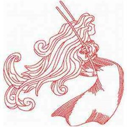 Lady On Swing embroidery design