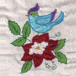 Bird & Flower embroidery design