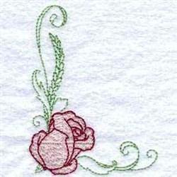 Delicate Rose Corner embroidery design