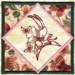 Butterfly Floral Block embroidery design