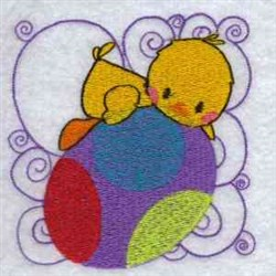 Easter Chick Block embroidery design