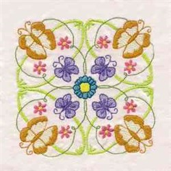 Floral Butterfly Block embroidery design