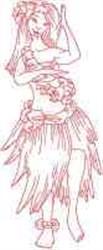 RW Hula Girl embroidery design