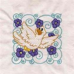 Curly Bird Block embroidery design