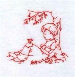 Boy Under Tree embroidery design