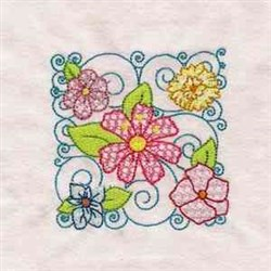 Flower Curly Block embroidery design