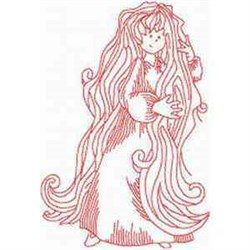 Long Hair Woman embroidery design