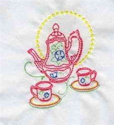 Decorative Tea Set embroidery design