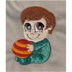 Boy With Ball embroidery design