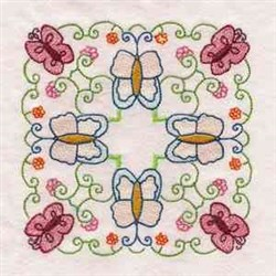 Butterfliy Flower Block embroidery design