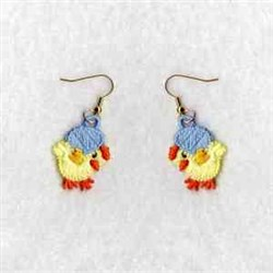 FSL Easter Chick Earrings embroidery design