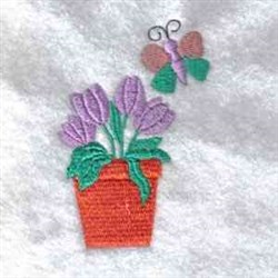 Tulip & Butterfly embroidery design