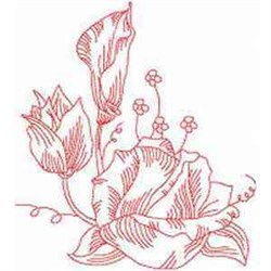 Redwork Blossoms embroidery design