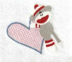 Sock Monkey Heart embroidery design