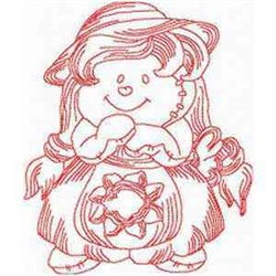 Redwork Baby Doll embroidery design