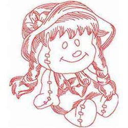 Redwork Doll embroidery design