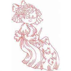 Redwork Patching Woman embroidery design